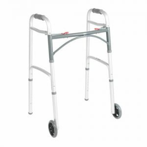 Folding Walker, Adult, Aluminum, 350 lbs, 32 to 39 Inch